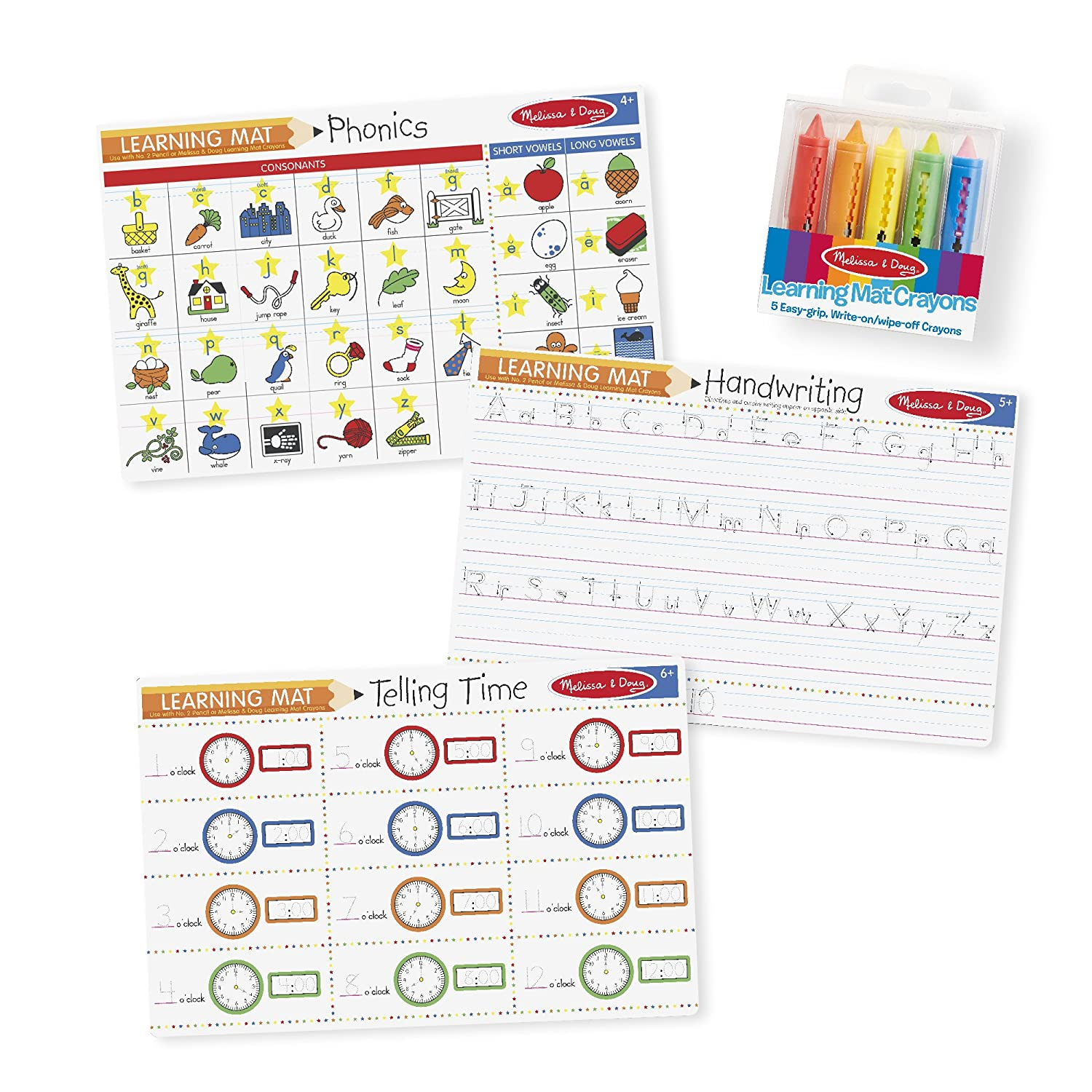 Melissa & Doug Basic Skills Placemat Set - Phonics, Handwriting, and Telling Time 5105