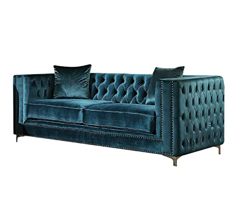 Stupendous Acme Gillian Dark Teal Velvet Loveseat With 2 Pillows Andrewgaddart Wooden Chair Designs For Living Room Andrewgaddartcom