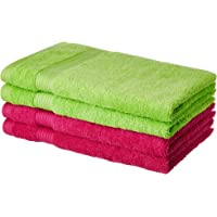 Amazon Brand - Solimo 100% Cotton 4 Piece Hand Towel Set, 500 GSM (Spring Green and Paradise Pink)