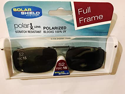 77127315a8 Image Unavailable. Image not available for. Color  SOLAR SHIELD Clip-on  Polarized Sunglasses Size 52 rec 15 Black Full Frame NEW