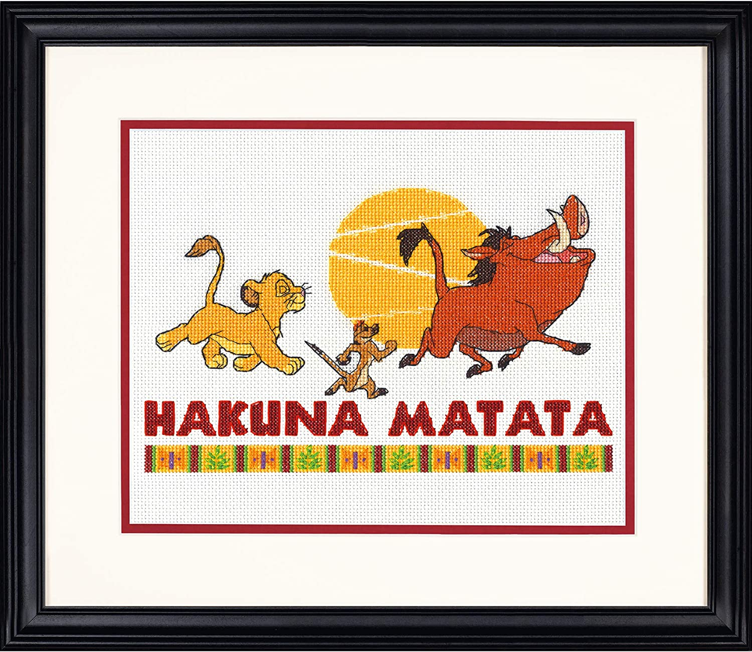 Dimensions Disneys The Lion King Hakuna Matata Counted Cross Stitch Kit for Beginners 14 Count White Aida Cloth 10 x 8