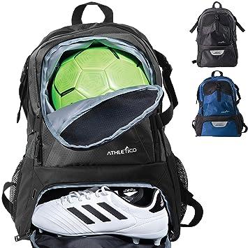 Athletico National - Mochila de fútbol y baloncesto, incluye compartimentos separados para balón y botas