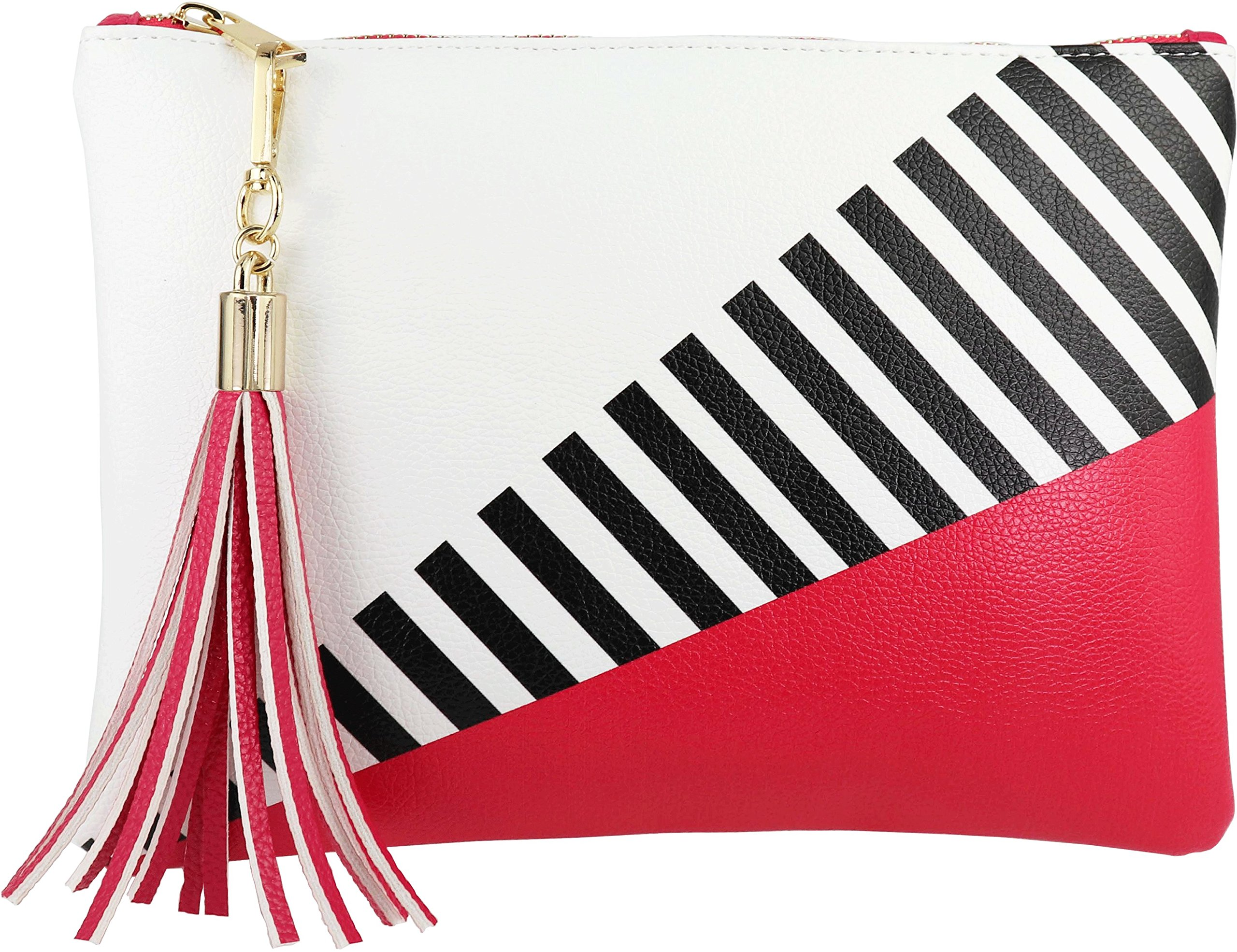 B BRENTANO Vegan Clutch Bag Pouch with Tassel Accent (Hot Pink)