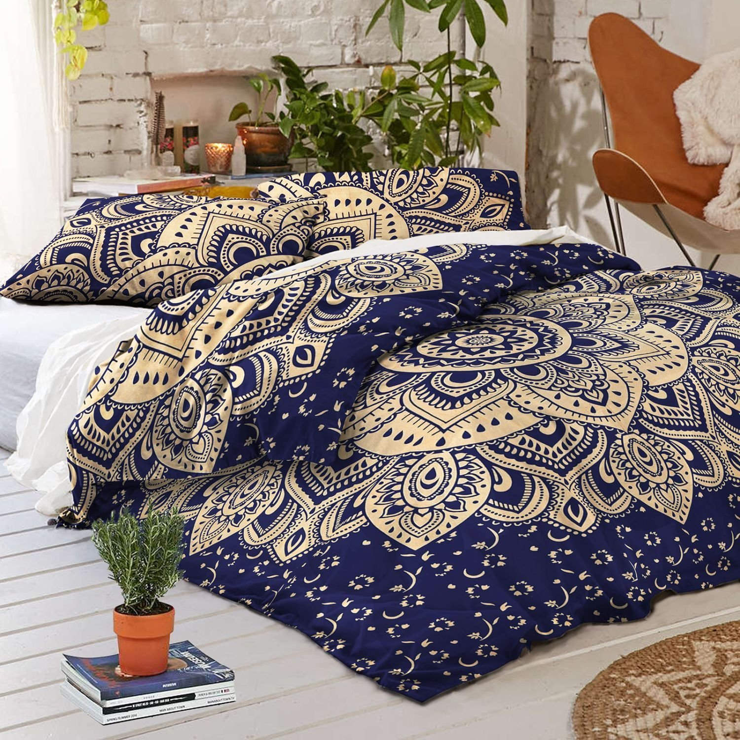 Sophia Art Indian Metallic Gold Ombre Mandala Full Size Comforter Cover Hippie Boho Cotton Doona Duvet Cover Indian Comforter Mandala Set magazine holder Letter Holder