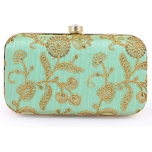 AARAV Handcrafted Womens Box Wedding clutch (Green)