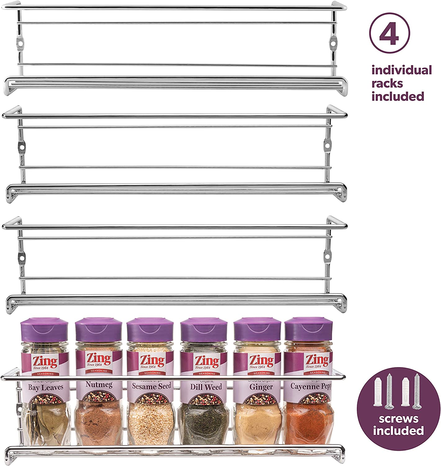 Spice Rack Wall Mount, Pantry Cabinet Door Organizer by Mindspace - Set of 4 Hanging Spice & Seasoning Racks Kitchen Storage Organizer | The Wire Collection, Chrome