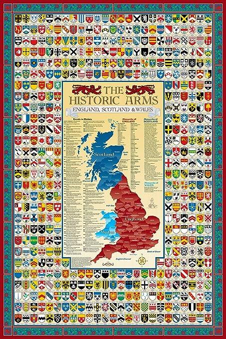 Map Of England Scotland.Amazon Com England Scotland Wales Family Crest Coat Of Arms Map