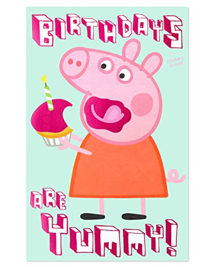 American Greetings Peppa Pig Birthday Card For Girl With Stickers