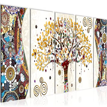 Bilder Gustav Klimt Baum des Lebens Wandbild 150x60 cm Vlies Leinwand Bild  XXL Format Wandbilder Wohnzimmer Wohnung Deko Kunstdrucke MADE IN GERMANY  ...