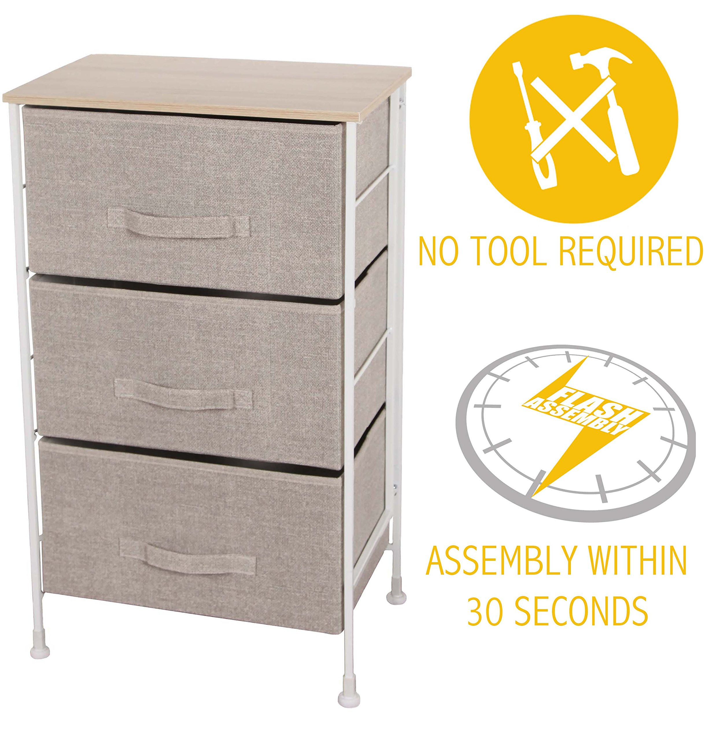 iTIDY Drawer Chest-3 Drawer Storage Chest,Dresser,Drawer Organizer Unit,Multi-Purpose Storage Cabinet With Removable Fabric Drawers,Beige