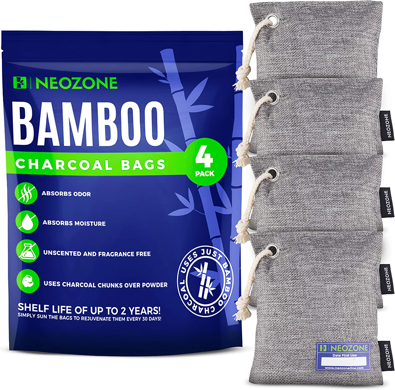NEOZONE Nature Fresh Air Purifier Bags - Activated Charcoal Bags Odor Absorber, Activated Bamboo Charcoal Bags, Room Deodorizer for Home, Closet Air Fresheners, Charcoal Odor Absorbers for Home