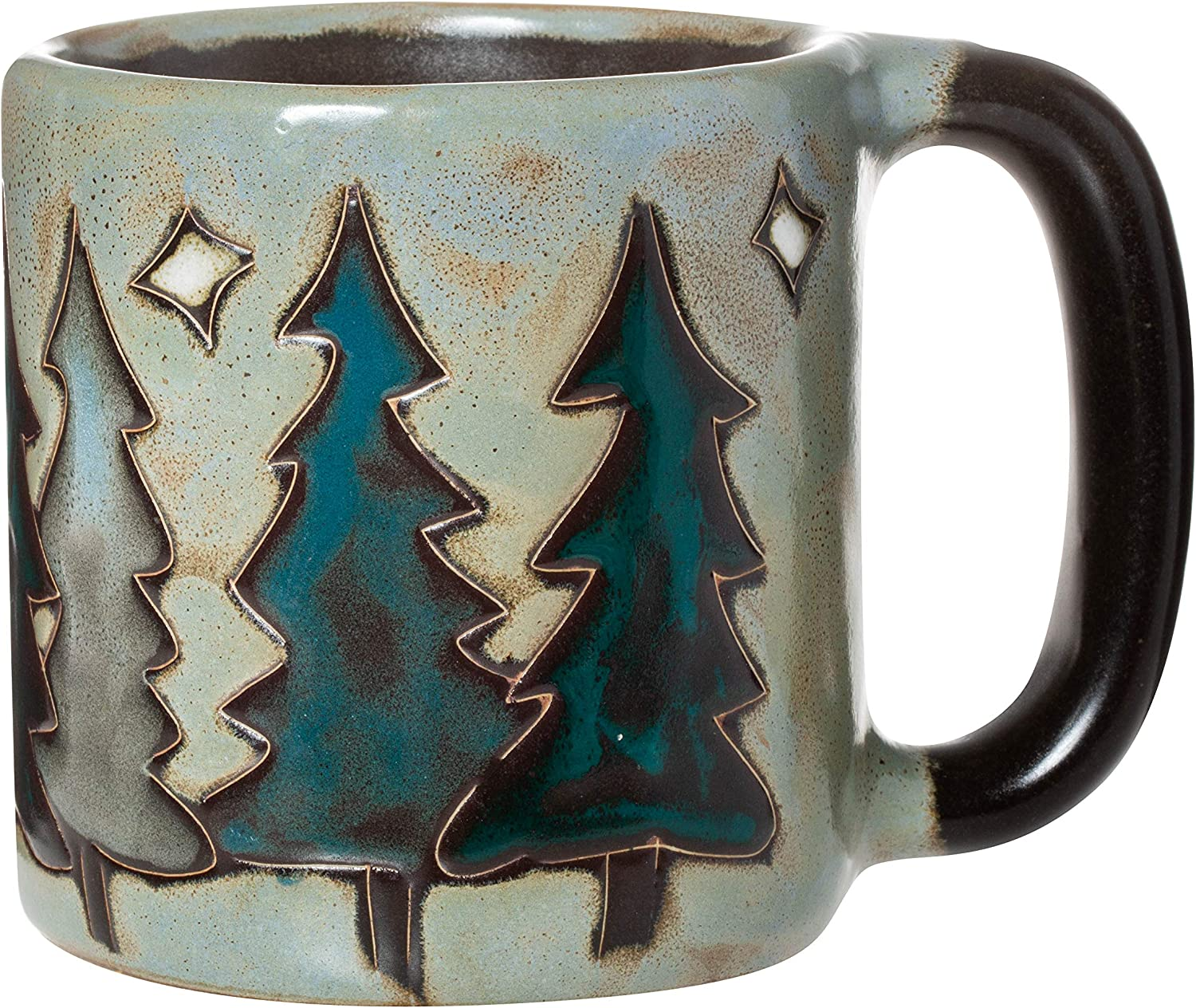 One (1) MARA STONEWARE COLLECTION - 16 Ounce Coffee Cup Collectible Dinner Mug - Pine Trees Design