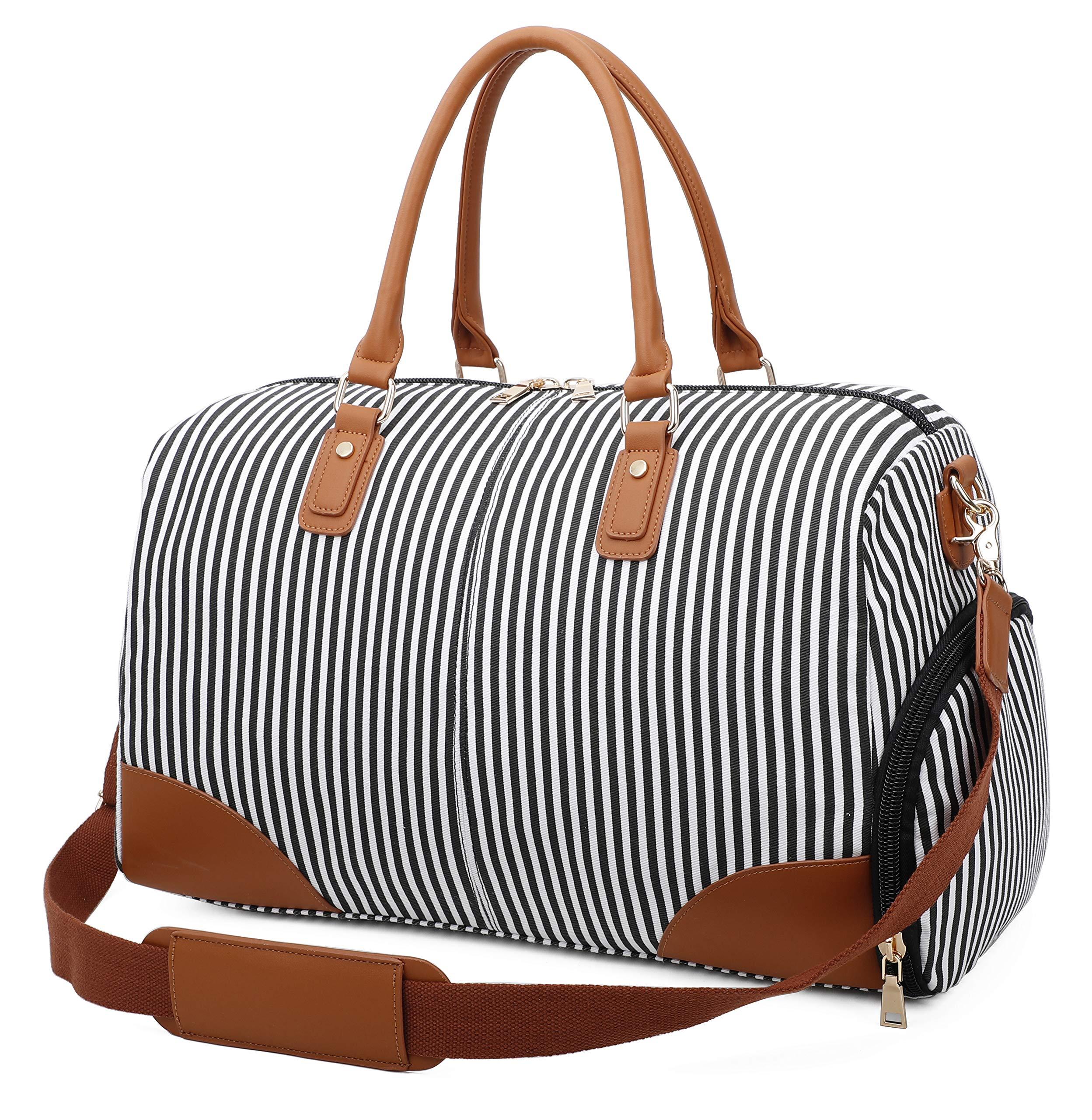 Gimay Weekend Bolsa de viaje Mujer Overnight Duffle Canvas Tote Bags ... (Negro)