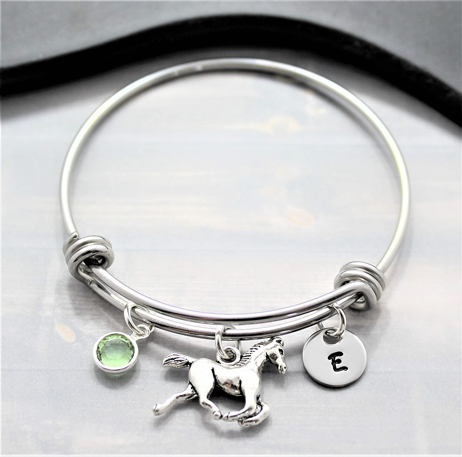 Horse Bracelet - Horse Jewelry - Horse Gifts for Women - Personalized Birthstone & Initial - Fast Shipping