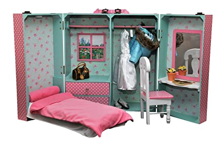 Merveilleux Doll Clothes Storage Trunk For 18u0026quot; Dolls Fits American Girl With  All In