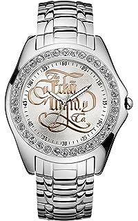 Marc Ecko Mens E10564G1 Encore Silver Analog Stainless Steel Bracelet Watch