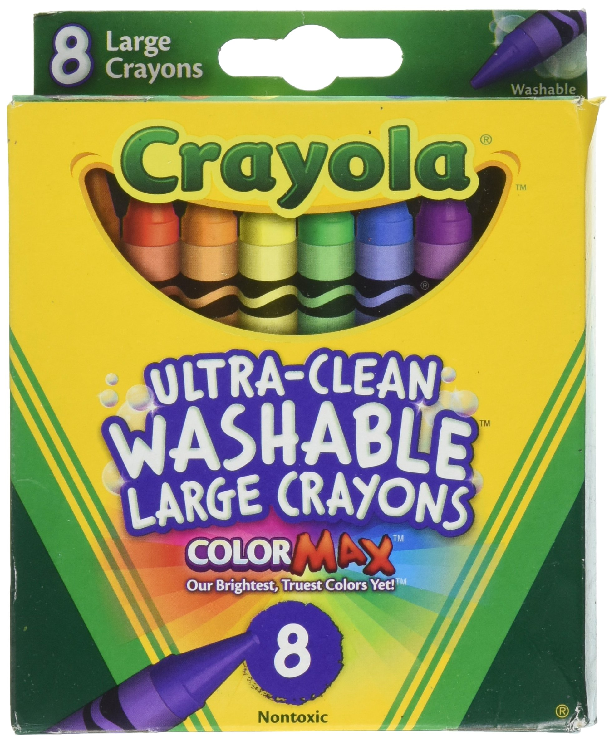 Crayola Washable Crayons, Large, 8 Colors - 2 Packs