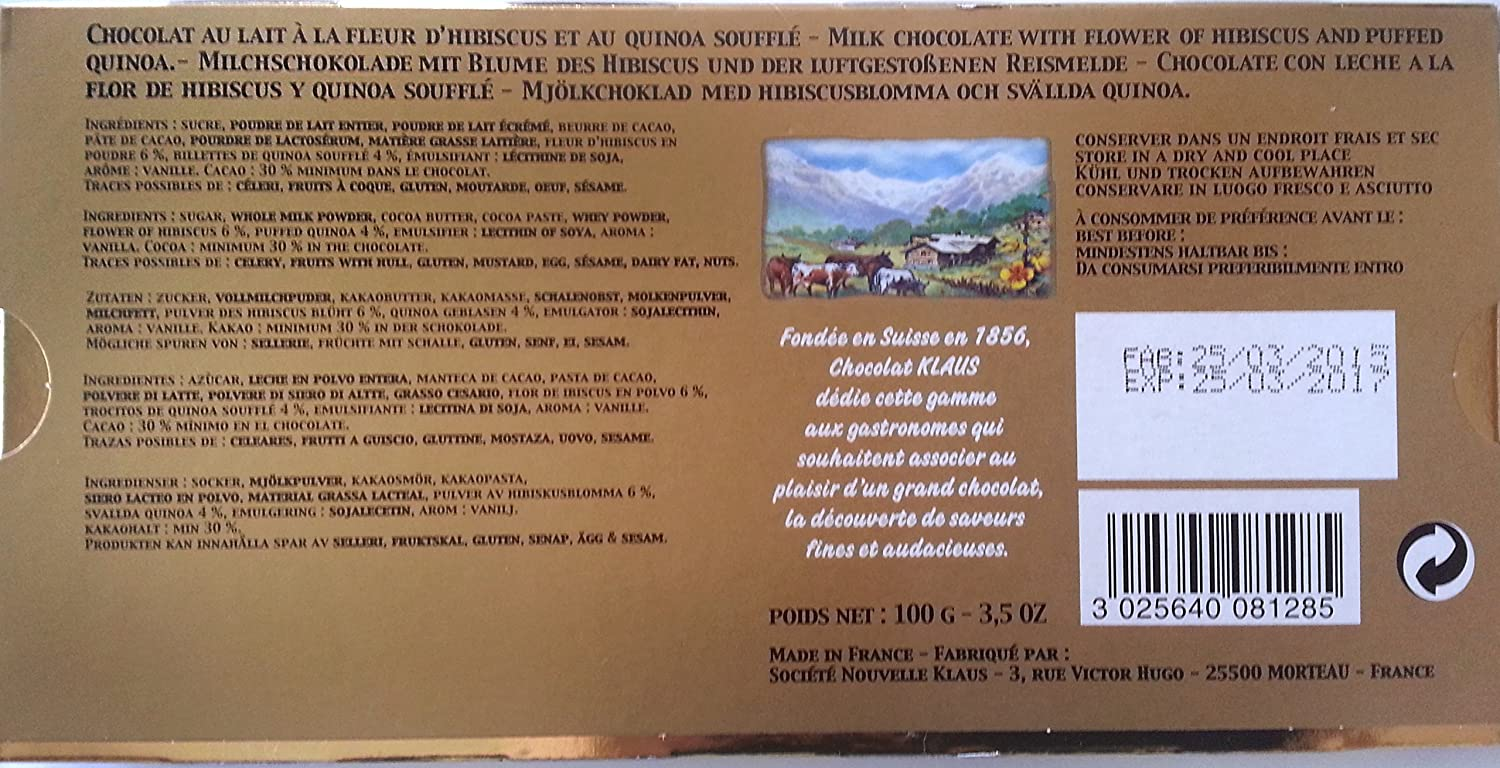 Amazon.com : Klaus Pure Cacao LAIT Milk Chocolate Bar with Hibiscus & Puffed Quinoa 3.2oz (1 Pack) : Grocery & Gourmet Food