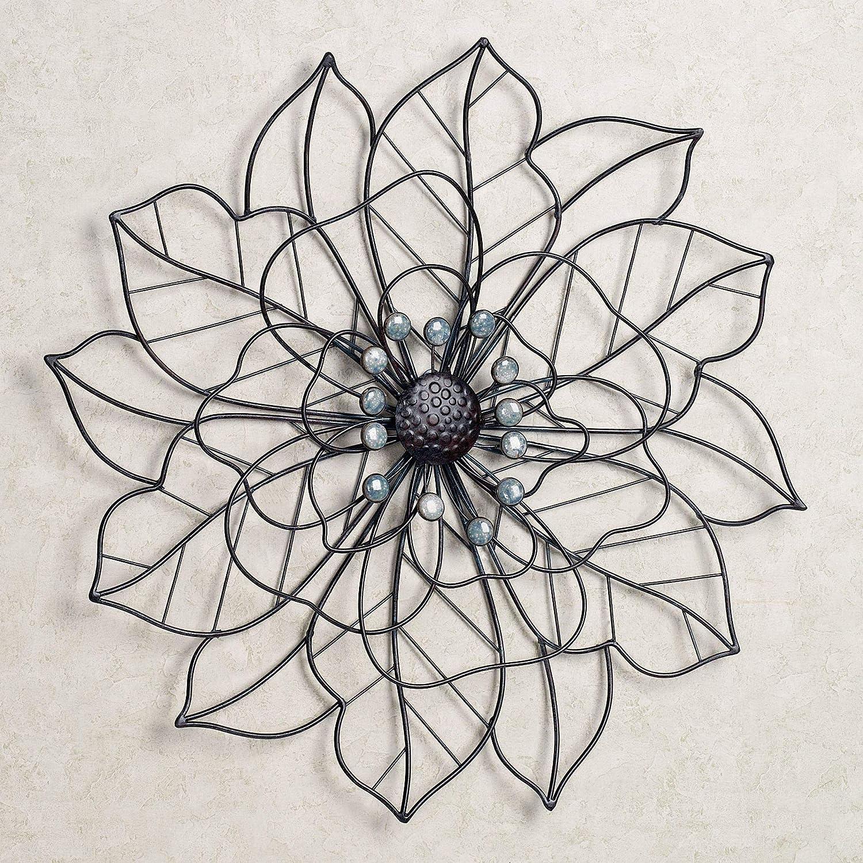 Touch of Class Brown Blue Flower Floral Metal Sculpture Wall Art Hanging Home Decor
