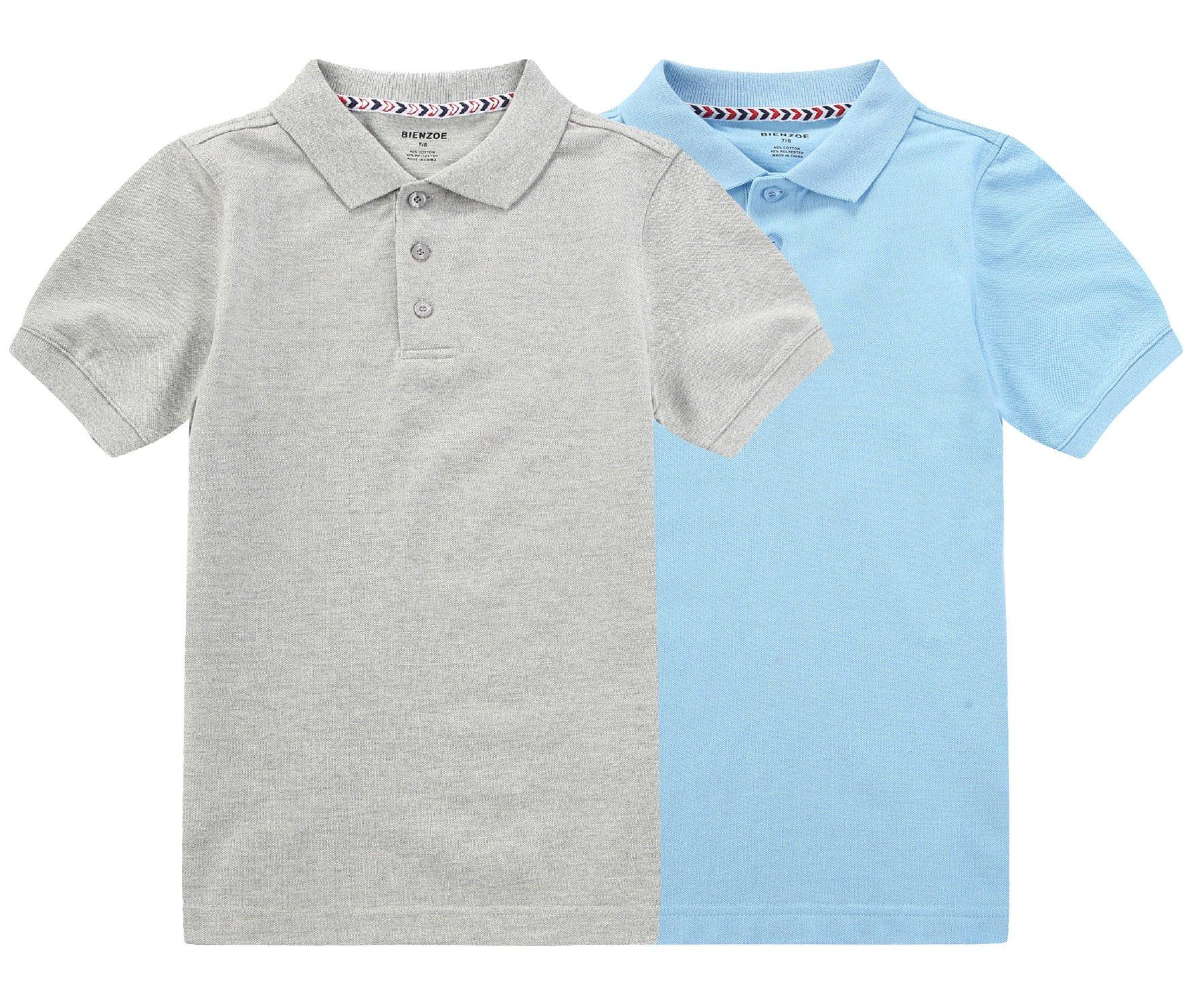 Bienzoe Boy's Antimicrobial Breathable Short Sleeve Polo 2pcs PackB 7/8