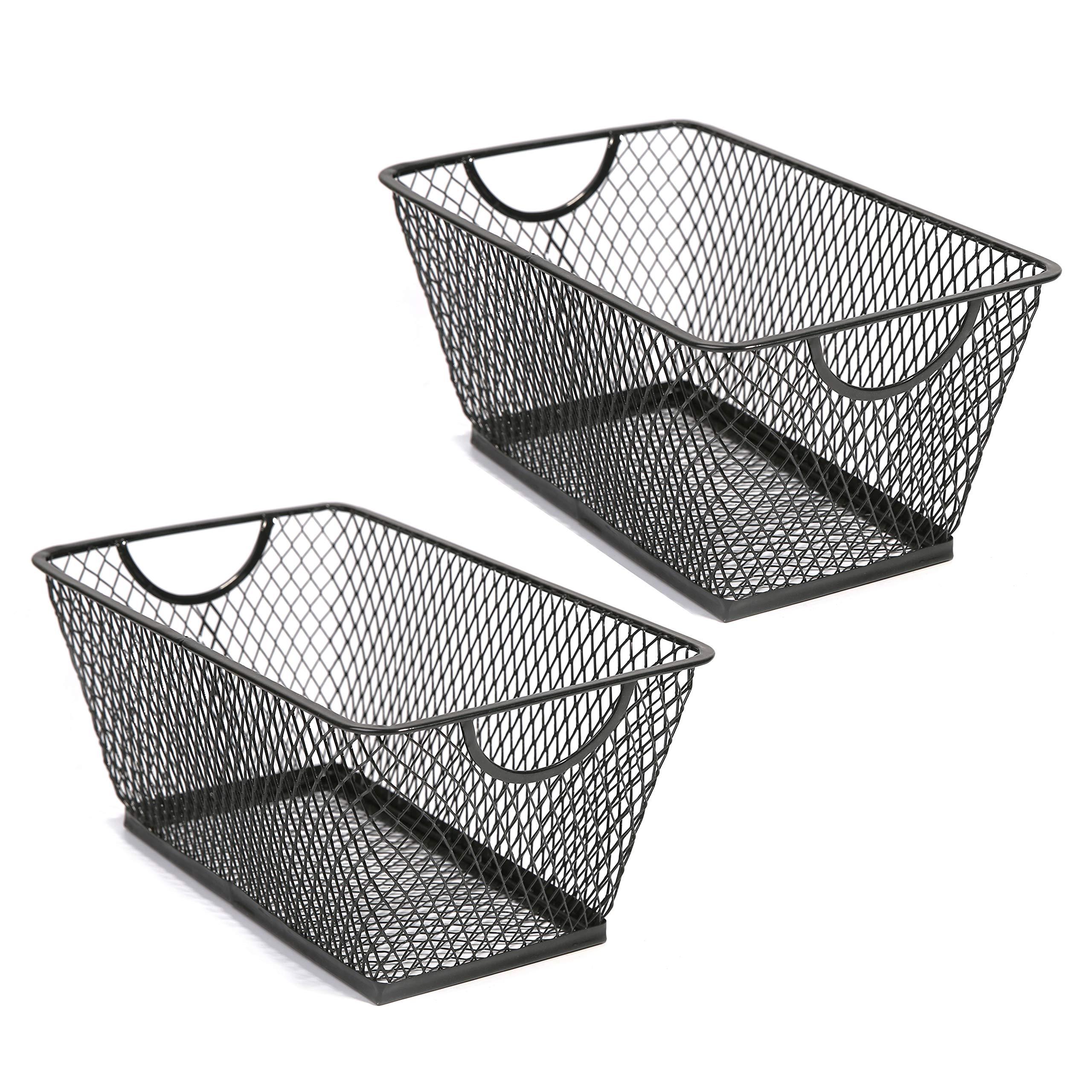 SLPR Office Desktop Organizer Wire Basket (Set of 2, Black) | Classroom Craft Room Kitchen Pantry Garage Desk Stackable Metal Tapered Storage Bin