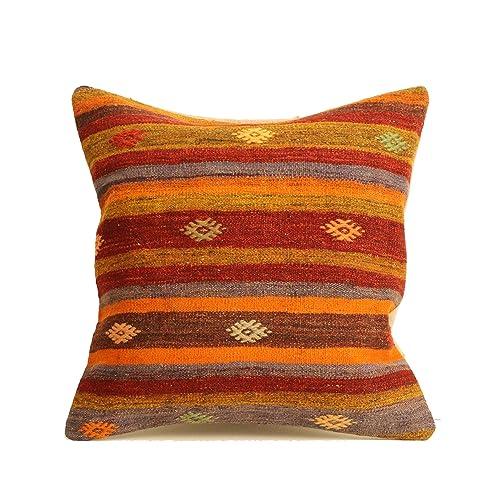 Bohemian Pillow Cover Turish Kilim Pillow  P-1320 Beige-Brown  Kilim Pillow Ethnic Kilim Pillow 24X24  Striped Kilim Pillow Cover