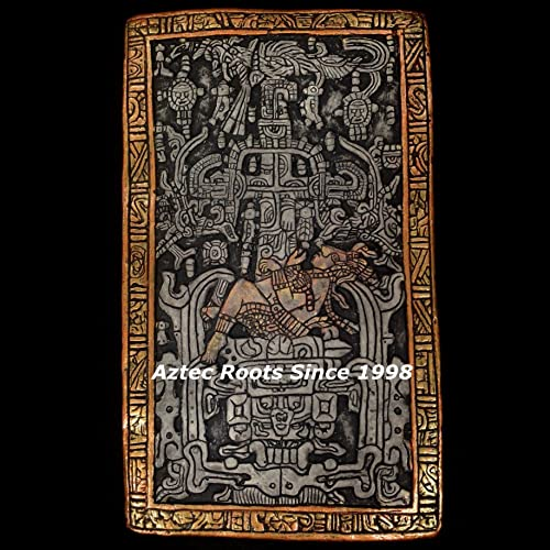 13″ Mayan King Pacal Sarcophagus Plaque Astronaut Maya Peru Inca Sculpture Statue Aztec Pottery Pakal History Art Ancient Aliens Hand-Painted From Mexico 006