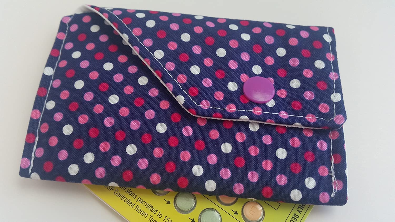 Birth Control Case Sleeve with Snap Closure -Pink dots on navy