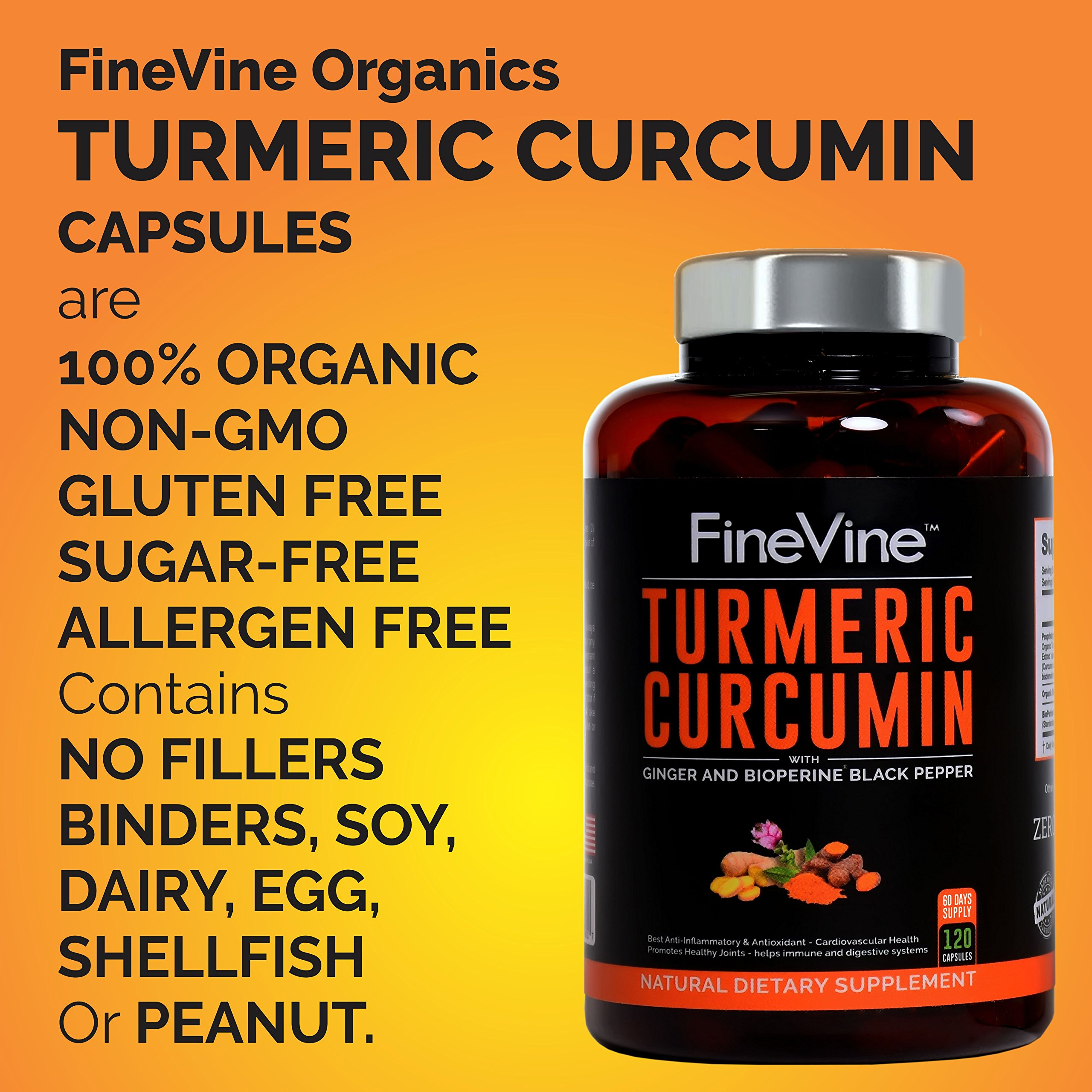 Turmeric Curcumin with BioPerine Black Pepper and Ginger - Made in USA - 120 Vegetarian Capsules for Advanced Absorption, Cardiovascular Health, Joints Support and Anti Aging Supplement (120 Capsules) by FineVine (Image #6)