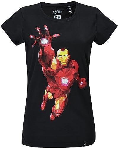 GOZOO The Avengers Camiseta Mujer Iron Man - Polygon Edition 100% Algodón Negro