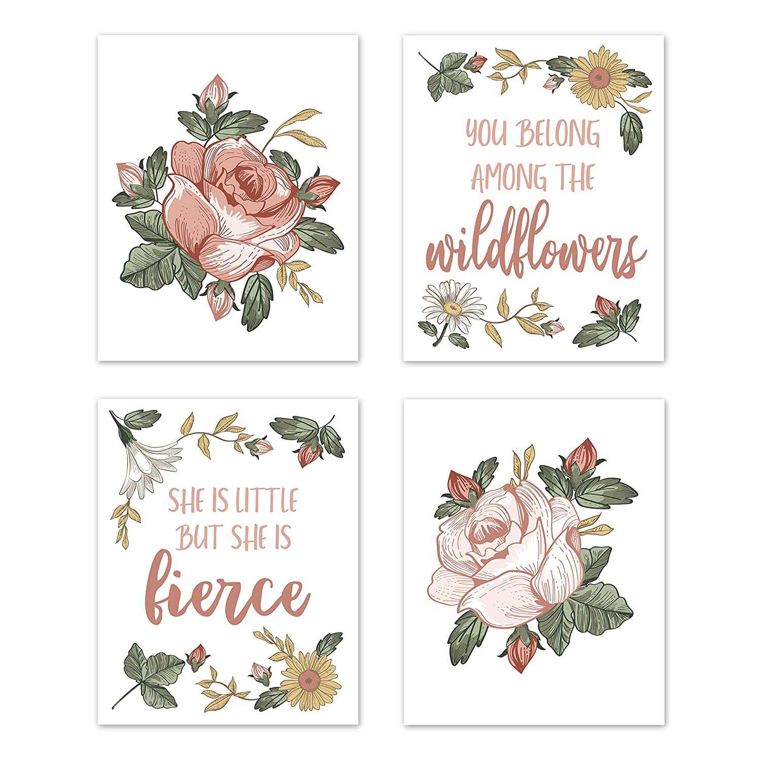 Sweet Jojo Designs Vintage Floral Boho Wall Art Prints Room Decor for Baby, Nursery, and Kids - Set of 4 - Blush Pink, Yellow, Green and White Shabby Chic Rose Flower Farmhouse Wildflower