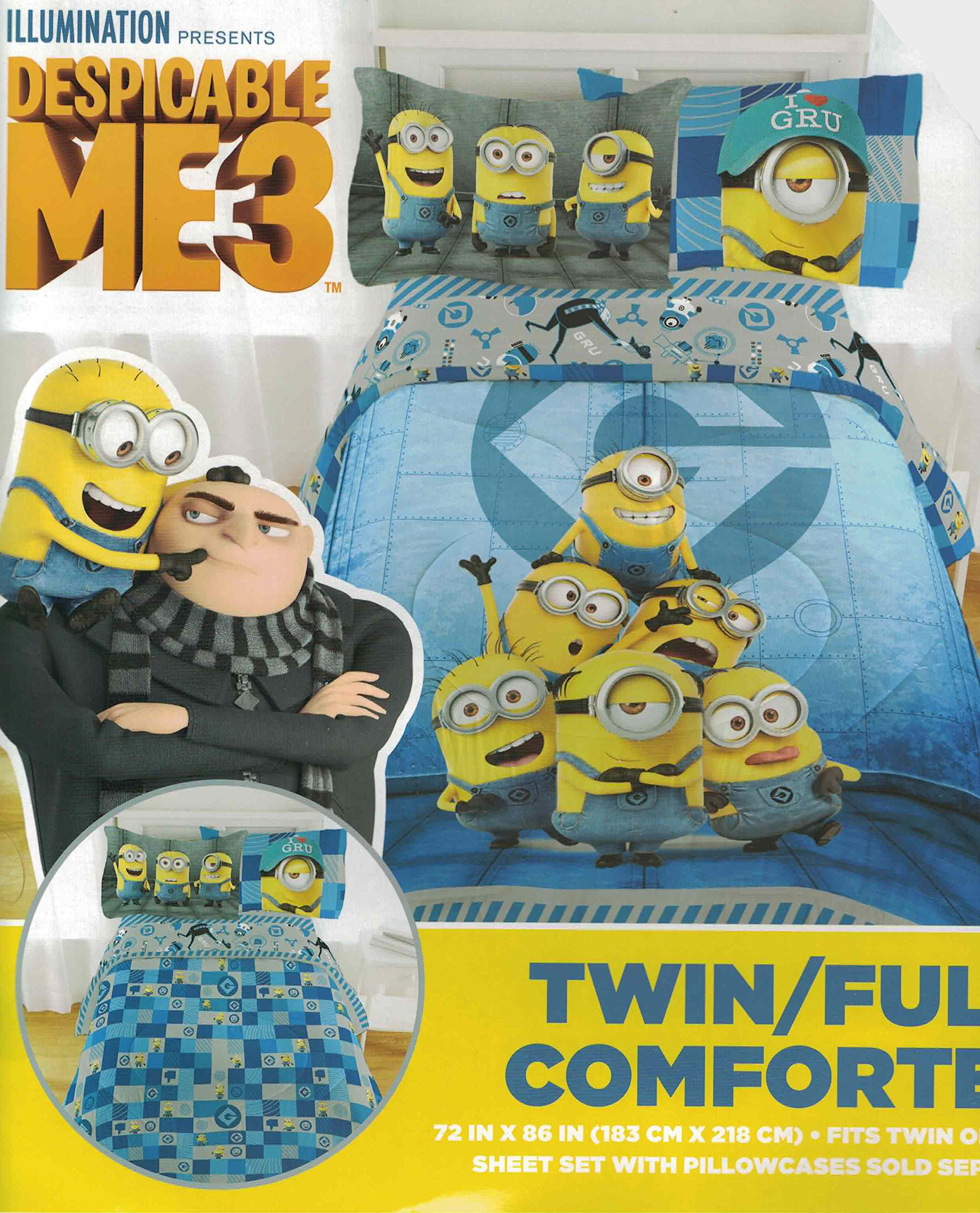 Despicable Me 3 Minions (New 2017) 8pc Full Bedding Comforter Sheet Set Bedding Collection