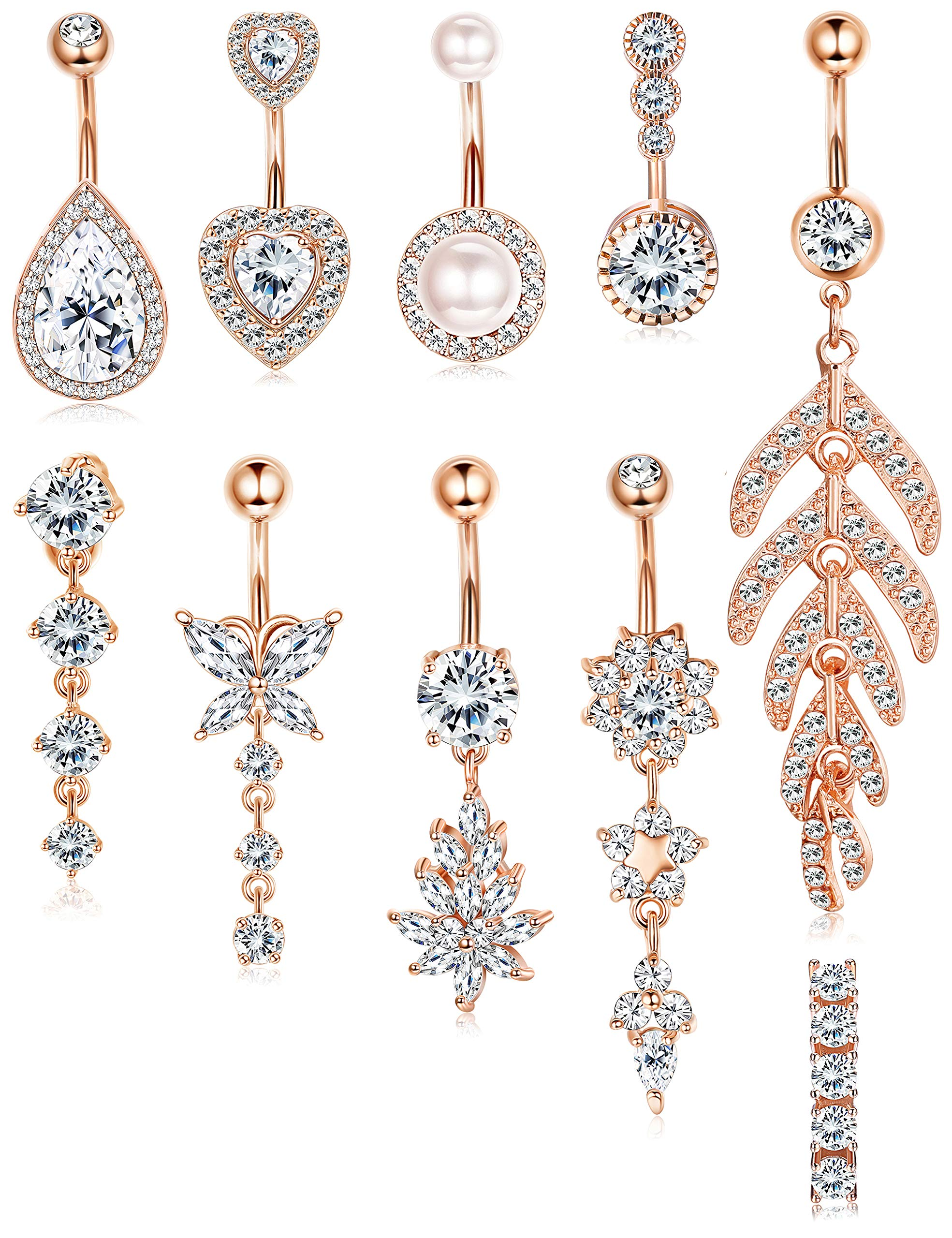 ORAZIO Belly Button Rings for Women 14G Stainless Steel CZ Pearl Dangle Navel Belly Ring Set Rose Gold Tone