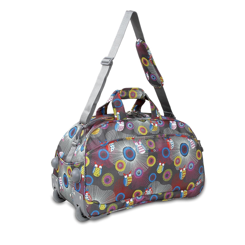 8a1371f3f0c Amazon.com   Multi Color Girls Owl Polka Dot Theme Rolling Duffel Bag Carry  On, Kids Polkadot Dots Themed Suitcase Duffle, Grey Purple Yellow Pink Blue  ...