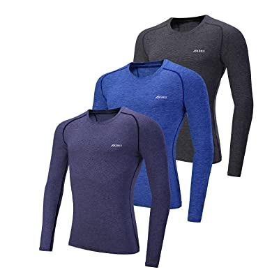 Akilex Men's Tight Compression Crossfit Long Sleeve Running Fitness Warm Wintergear Baselayer Top Workout Shirt 3 Or 1 Pack