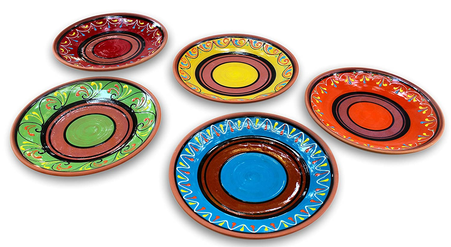 Amazon.com | Terracotta Small Dinner Plates Set of 5 (European Size) - Hand Painted From Spain Dinner Plates  sc 1 st  Amazon.com & Amazon.com | Terracotta Small Dinner Plates Set of 5 (European Size ...