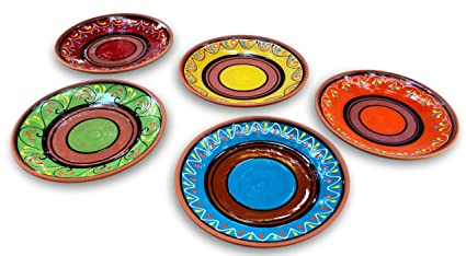 Terracotta Small Dinner Plates Set of 5 (European Size) - Hand Painted From Spain  sc 1 st  Amazon.com & Amazon.com | Terracotta Small Dinner Plates Set of 5 (European Size ...