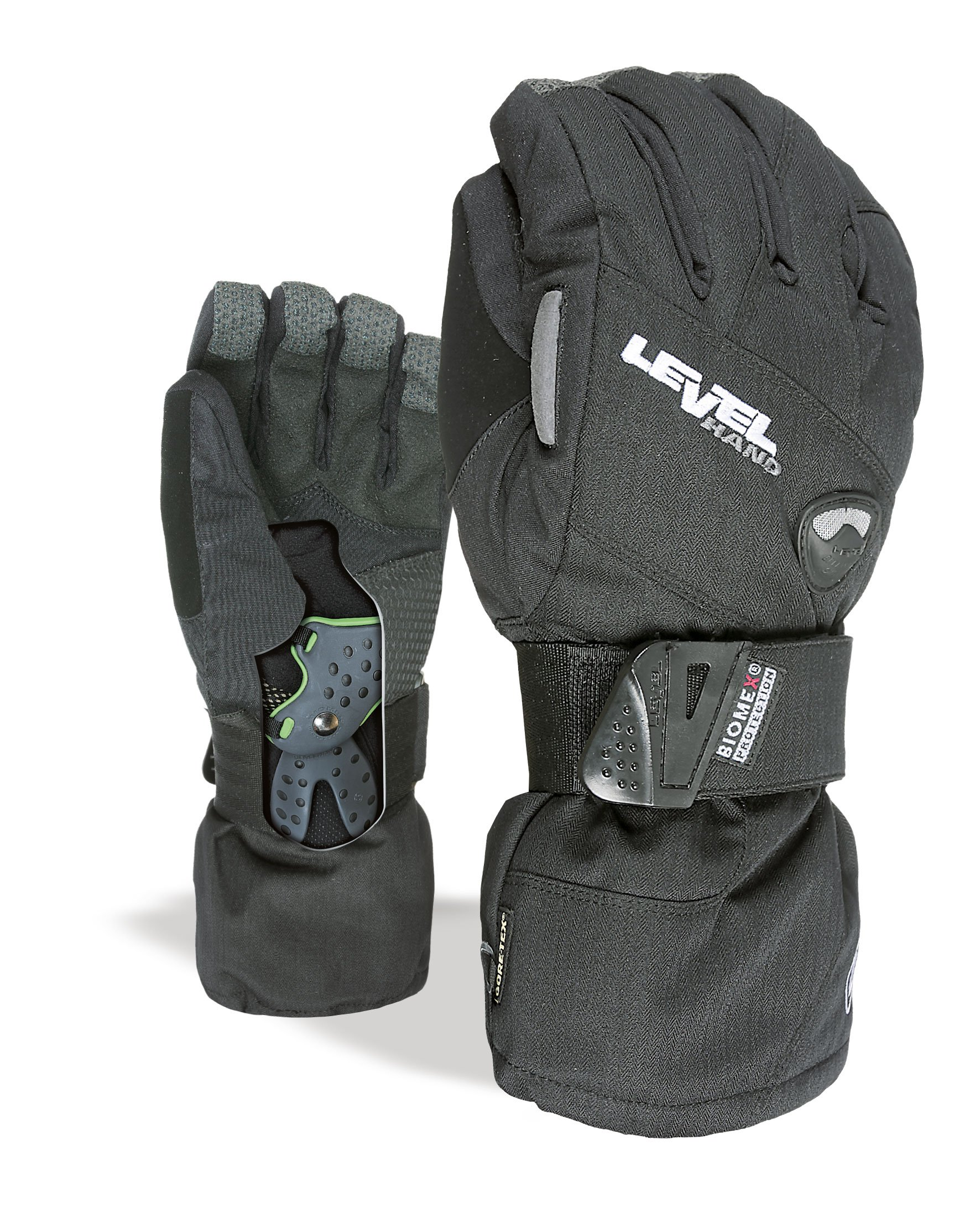 Level Half Pipe GTX Snowboard Protective Gloves with GoreTex Shell, BioMex Integrated Wrist Guards, ThermoPlus Liner (Black, Large (9.0in))