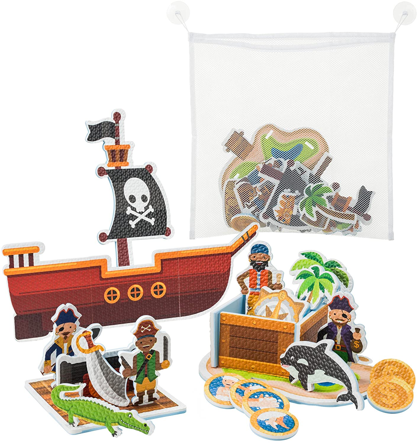 Learn & Climb Interactive Bath Toys for Boys - Play and Build Your Own Pirate Ship. For Boys ages 2-3-4-5, Toddlers and Kid - Plus Bath Toy Organizer and Bath Chore System