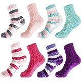 Super Soft Warm Microfiber Fun Fuzzy Cozy Home Socks - 8 Pair Value Pack