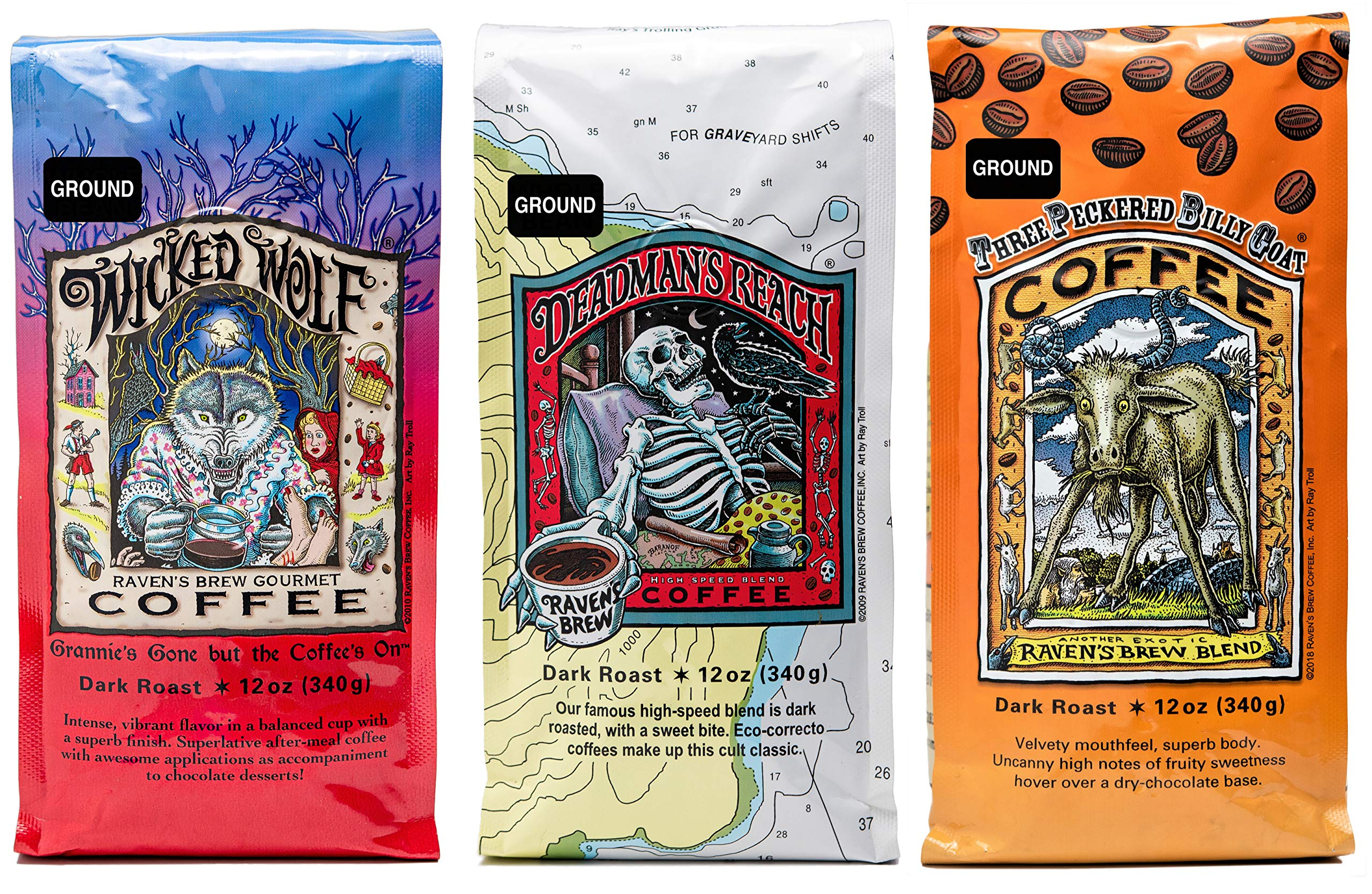 Raven's Brew Ground Coffee Variety Pack - 3 Delicious Flavors - Wicked Wolf, Three Peckered Billy Goat and Deadman's…