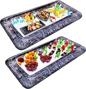 2Pcs [LARGE SIZE] Inflatable Glitter Ice Serving Bar with Drain Plug Holiday Indoor Outdoor BBQ Picnic Luau Pool Party Supplies for Salad Food Drink Cooler(Black)
