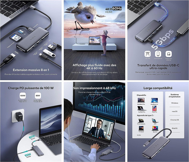 VAVA Hub USB-C 8-en-1 Adaptateur Cartes SD//TF Jack 3.5mm Audio pour MacBook Pro//iPad Pro//Laptops Type-C//Windows//MacOS avec HDMI 4K 60Hz Power Delivery 100W USB-C et 2 Ports Data USB-A 5Gbps