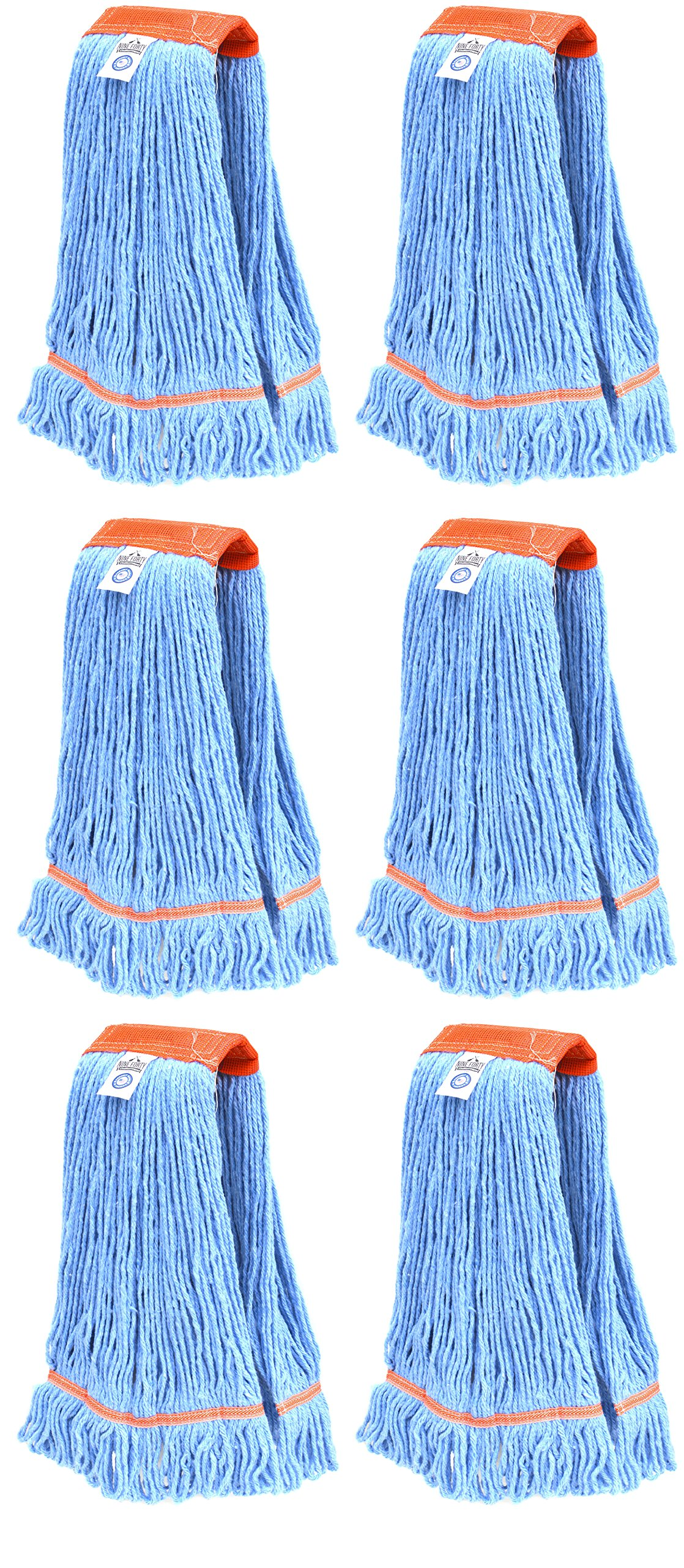 Nine Forty Industrial | Commercial Strength Premium Looped End Floor Cleaning Wet Mop Head Refill | Replacement – Heavy Duty 4 Ply Synthetic Yarn (6 Pack, Large)