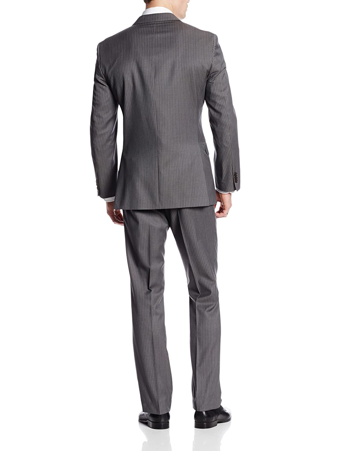 Tommy Hilfiger Mens Nathan Gray-Stripe Two-Button Side-Vent Suit