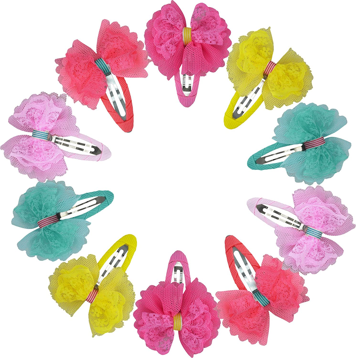 12 Pcs Heymei Colorful Lovely Flowers Hair Clips Hair Accessories with Mess (one size, Multi)