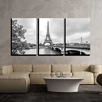 Marvelous Wall26 3 Piece Canvas Wall Art Paris Eiffel Tower From Seine Cityscape In Black And White Modern Home Decor Stretched And Framed Ready To Hang Machost Co Dining Chair Design Ideas Machostcouk