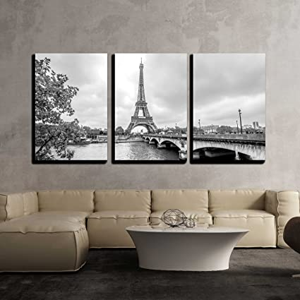 Amazon.com: wall26 - 3 Piece Canvas Wall Art - Paris Eiffel Tower ...