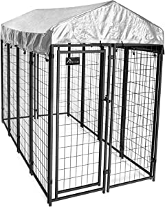 Homestead Welded Wire Outdoor Dog Kennel with Waterproof Cover, 6'H x 4' W x 8'L, 88-123