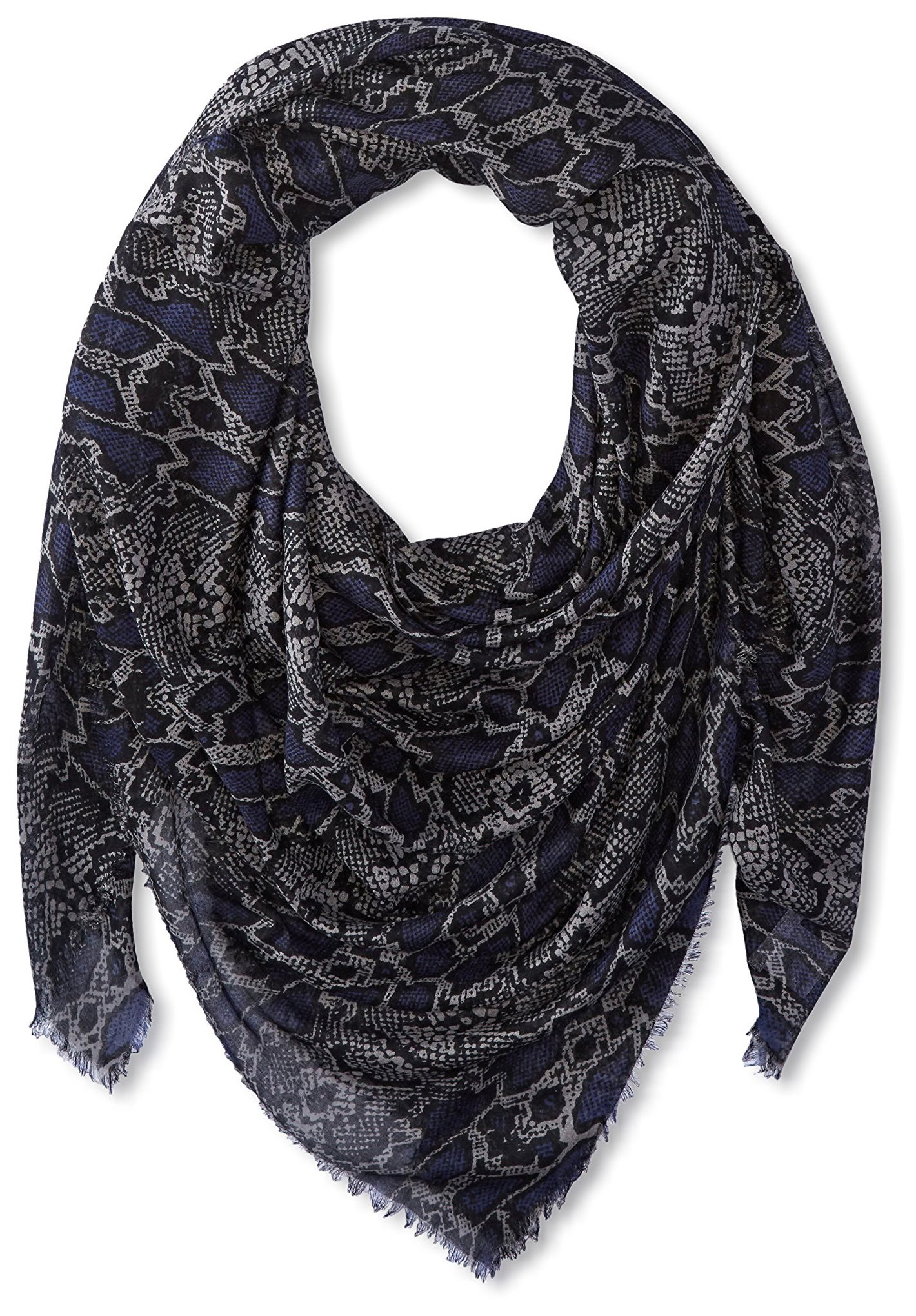 Chan Luu Women's Snakeskin Pattern Scarf, Patriot Blue Combo by Chan Luu